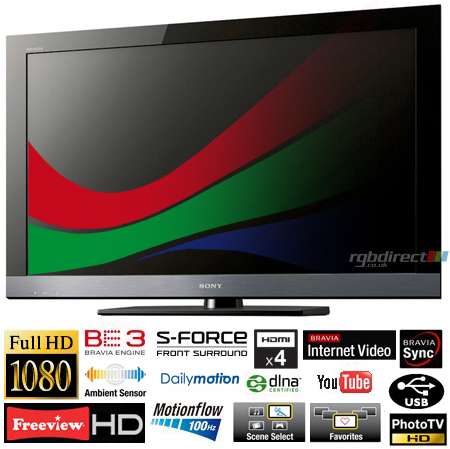 SONY KDL40EX503U, 40 Full HD 1080p Wi-Fi Ready LCD TV with Motionflow 100Hz, Online Services & Eco Features