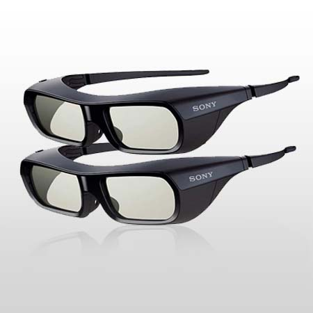 SONY TDGBR250Bx2, Rechargeable 3D Active Shutter Glasses with Durable, Lightweight Design.2 Pairs