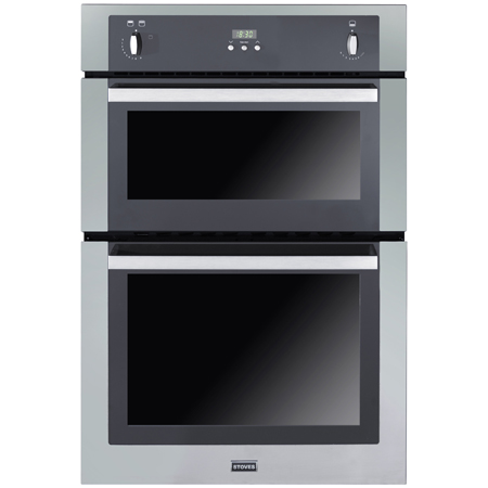 STOVES SGB900PS-Steel, Stainless Steel 90cm Built-In Gas Double Oven with Programmable Timer & Telescopic Sliders