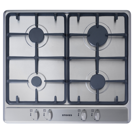 STOVES SGH600C-Steel, 60cm Gas Hob with Cast Iron Supports and 4 Zones in Stainless Steel. Ex-Display Model.
