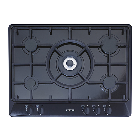 STOVES SGH700CBLK, Stoves 5 Burner Inc Wok 70 cm Gas HOB with cast Pan supports - Black.Ex-Display