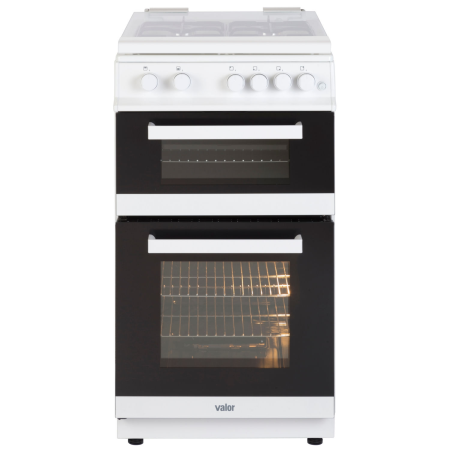 Valor V50GTCLWHI, 50cm Gas Cooker White with Twin Cavity Oven and 4 Burner Lidded Hob