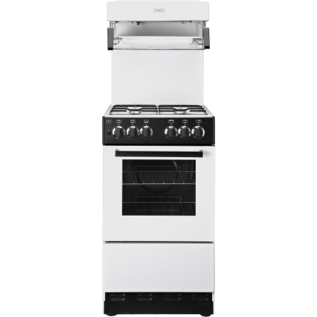 Valor V50HLGWHT, Gas Cooker White with 4 Burner Hob, Enamel Pan Supports and High Level Grill