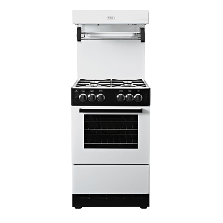 Valor V55HLGWHT, Gas Cooker White with 4 Burner Hob, Enamel Pan Supports and High Level Grill