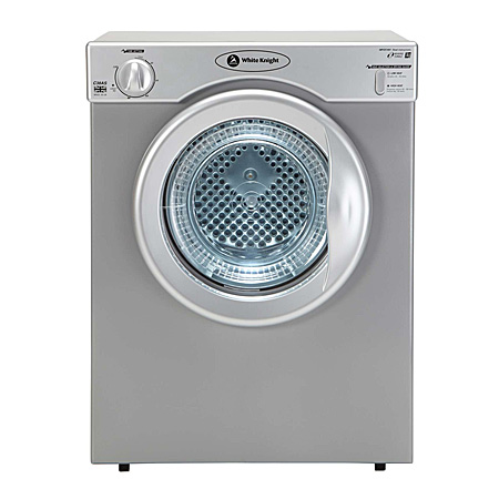 White Knight C38AS, Freestanding Compact 3kg Tumble Dryer Silver