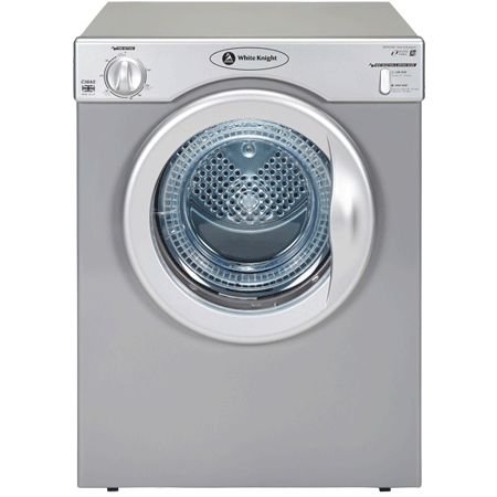 White Knight C39AS, 3.5kg Compact Vented Tumble Dryer in Silver