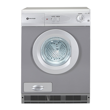 White Knight C77AS, Freestanding 7kg Condenser Dryer Silver