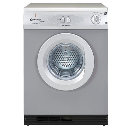 White Knight ECO43AS, Freestanding 7kg Tumble Dryer Silver Gas Operated