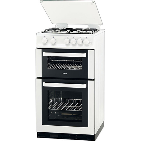 Zanussi ZCG563FW, 50cm Wide Gas Cooker with Double Oven