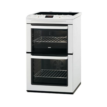 Zanussi ZCV550MWC, 55cm Freestanding Double Oven with Ceramic Hob