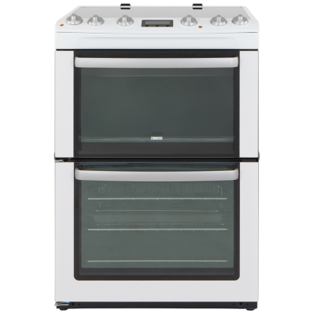 Zanussi ZCV667MWC, Electric Cooker with Double Oven, 4 Zone Ceramic Hob and Programmer