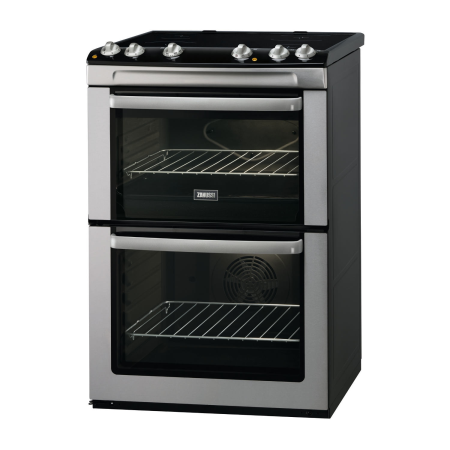 Zanussi ZCV668MX, 60cm Electric Cooker Stainless Steel with Double Oven and Ceramic Hob