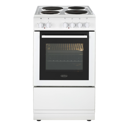 belling BELFS50ESWHI, 50cm Electric Cooker with solid plate hob - White