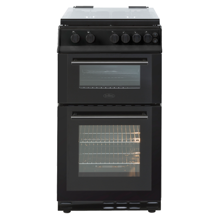 belling BELFS50GDOLBlk, 50cm Gas Double Oven with Glass Lid