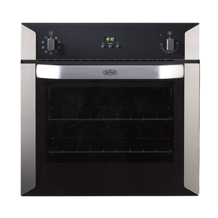 belling BI60MF, Fan Assisted Multifunction Electric Single Oven BlackStainless Steel with Programmer