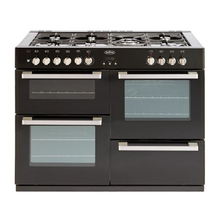 belling DB4110DFTBLK, 110cm Dual Fuel Range Cooker with 7 BurnerWok Hob