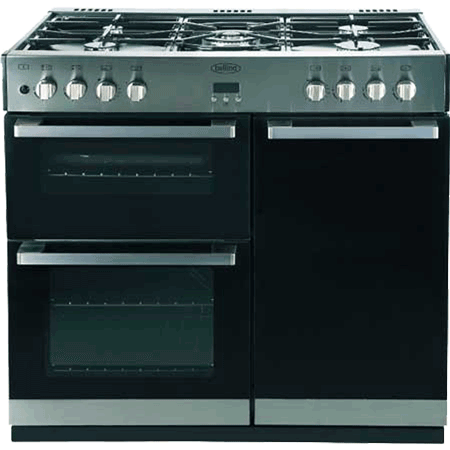 belling DB490DFTSSTBLK, Gas Range Cooker Stainless Steel & Black.