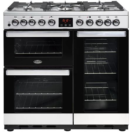 belling DB490GTSTA, 90cm Dual Fuel Range Cooker with 5 BurnerWok Hob