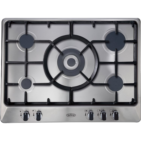belling GHU70GCMK2, 70cm Gas Hob with 5 Zones including Wok Burner and Cast Iron Supports in Stainless Steel