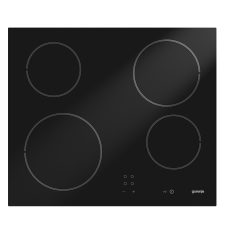 gorenje ECT610SC, 60cm Frameless Ceramic Hob with Touch Controls - Black