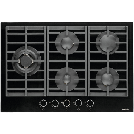 gorenje GTW761UB, 75 cm Gas Hob with Cast Iron Pan Supports