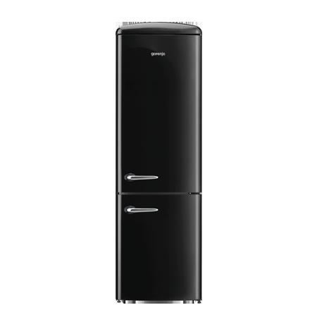 gorenje ONRK193BK, Gorenje Retro Collection ONRK193R 60/40 Frost Free Fridge Freezer with A+++ Energy Rating - Black