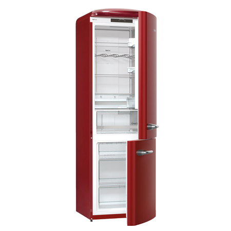 gorenje ONRK193R, Gorenje Retro Collection ONRK193R 60/40 Frost Free Fridge Freezer - Burgundy.