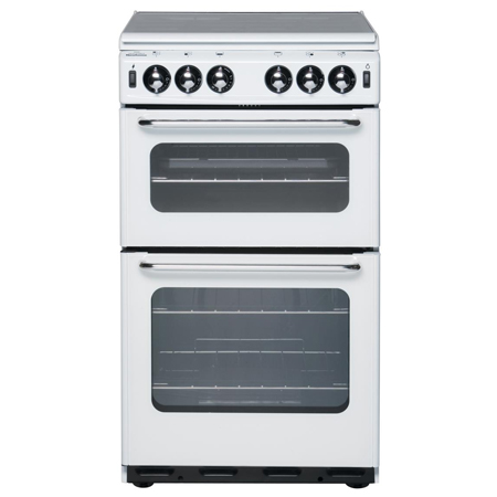 newworld NW500TSIDLWHT, 55cm Gas Cooker White with Twin Cavity Oven and Lidded Hob