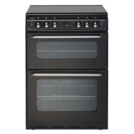 newworld NW600TSIDLMBLK, 60cm Gas Cooker Black with Twin Cavity Oven, minute minder