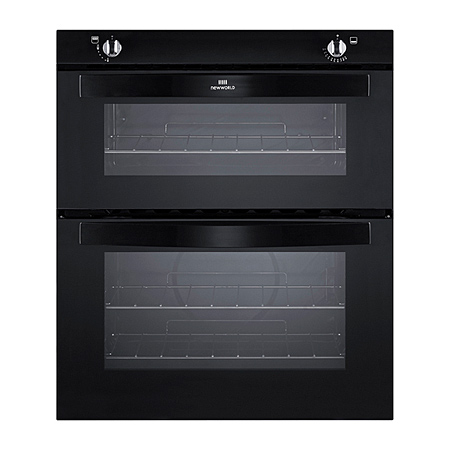 newworld NW701GBLK, Gas Twin Cavity Oven Black - Built-in