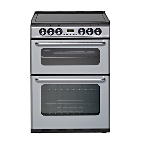 newworld NWEC600DOM, Electric Cooker Silver with Double Oven and Ceramic Hob.Ex-Display