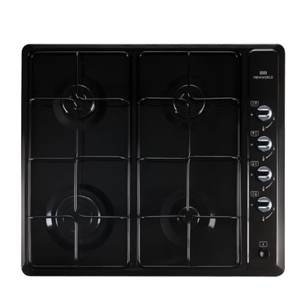 newworld NWGHU601BLK, 4 Burner Gas Hob with Enamel pan supports & Control dial ignition
