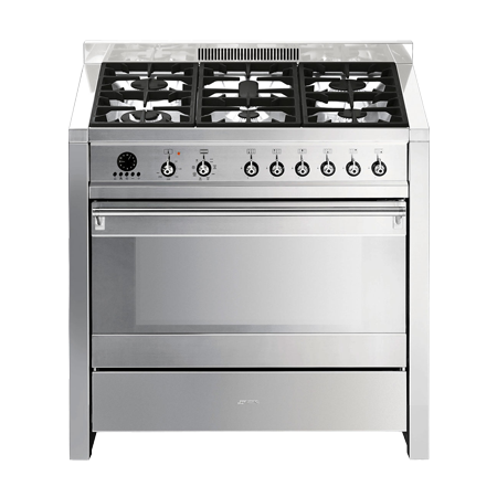 smeg A17, 90cm Dual Fuel Range Cooker Stainless Steel with Single Oven