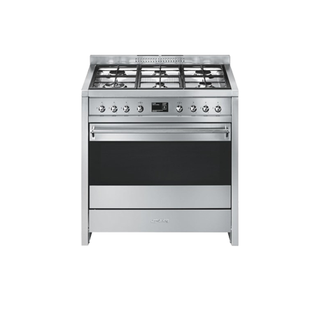 smeg A19, 90cm Dual Fuel Range Cooker Stainless Steel with A+ Rated Energy Rating