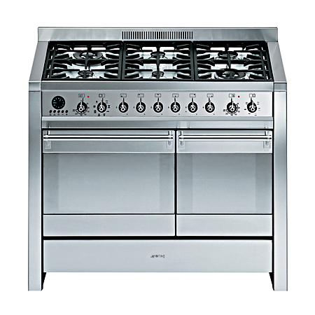 smeg A28, 100cm Dual Fuel Range Freestanding Stainless Steel Cooker