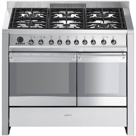 smeg A2PY8, 100cm Dual Fuel Range Cooker Stainless Steel with Pyrolytic Oven