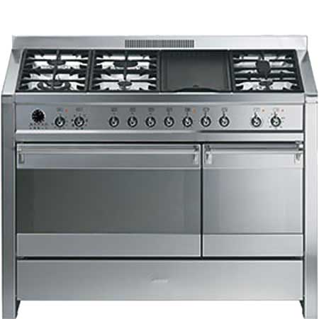 smeg A37, 120cm Dual Fuel Range Cooker Stainless Steel