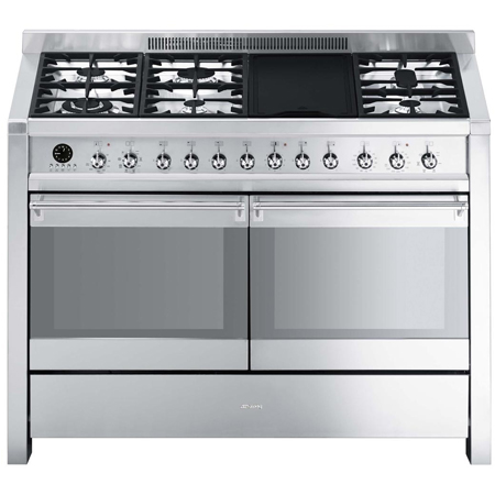 smeg A4-8, 120cm Dual Fuel Range Cooker Stainless Steel.