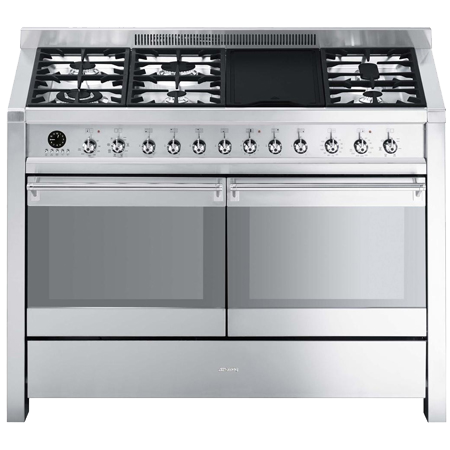 smeg A4-8, 120cm Dual Fuel Range Cooker Stainless Steel.Ex-Display Model