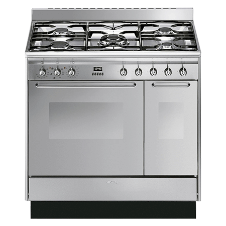 smeg CC92MX9, Dual Fuel Range Cooker Stainless Steel with Twin Cavity Oven