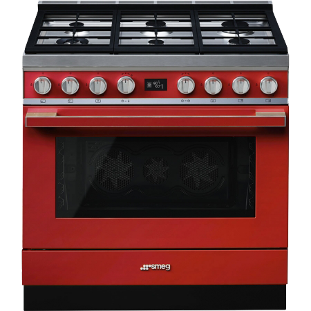 smeg CPF9GPR, 90cm Portofino Pyrolytic Dual Fuel Range Cooker with A+ Energy Rating in Red
