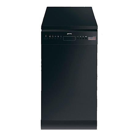 smeg D4B1, 45CM Freestanding Slimline Dishwasher in Black with Energy Rating A+