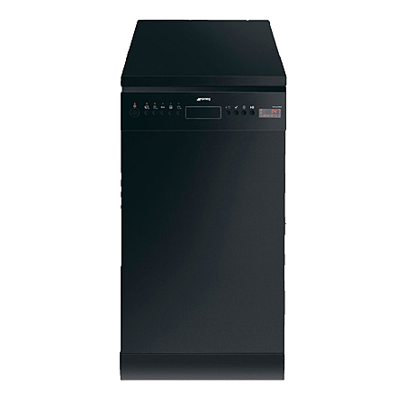 smeg D4B1, 45CM Freestanding Slimline Dishwasher in Black with Energy Rating A+
