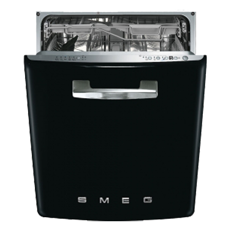 smeg DI6FABBL, 60cm  50s Style Built-In Dishwasher  Black 13 place setting - Energy Rating A+++A