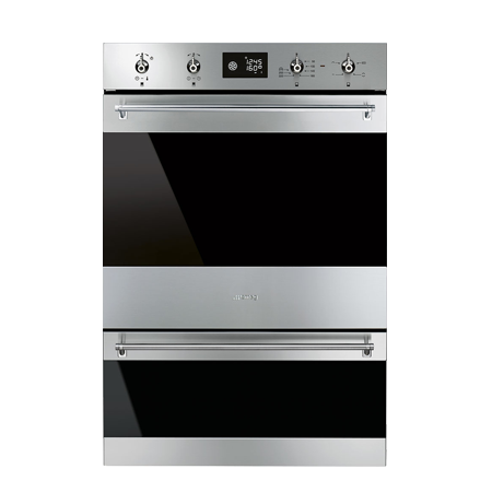 smeg DOSP6390X, 60cm Classic Multifunction Double Oven with pyrolitic cleaning in the main oven, Stainless steel - Energy Rating AA