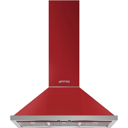 smeg KPF9RD, 90 cm Chimney Cooker Hood in Red with A+ Energy Rating