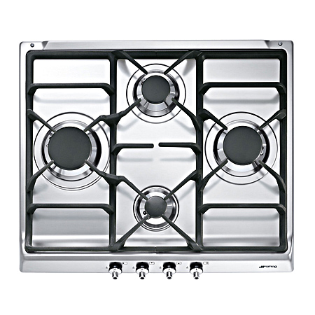 smeg SE60SGH3, 60cm Classic Gas Hob, with Cast Iron Pan Stands