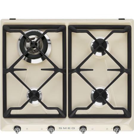 smeg SR964PGH, 60cm Integrated 4 burner Gas Hob in Cream