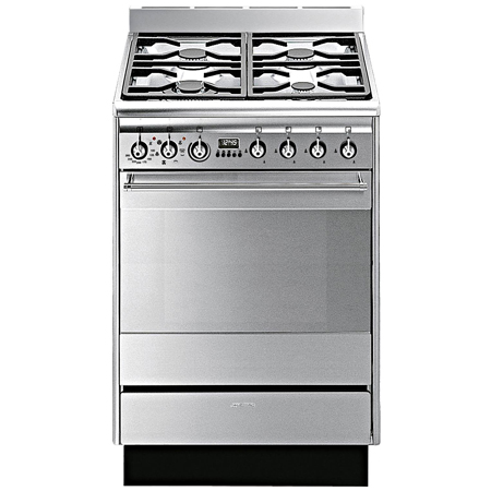 smeg SUK61MX8, 60cm Dual Fuel Cooker Stainless Steel