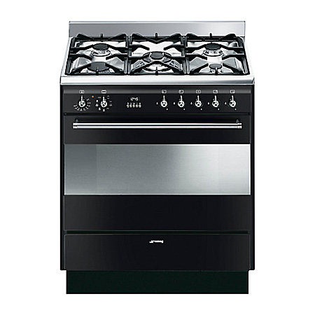 smeg SUK81MBL8, 80cm Duel Fuel Concert Cooker with Multifunction Oven and Gas hob, Black